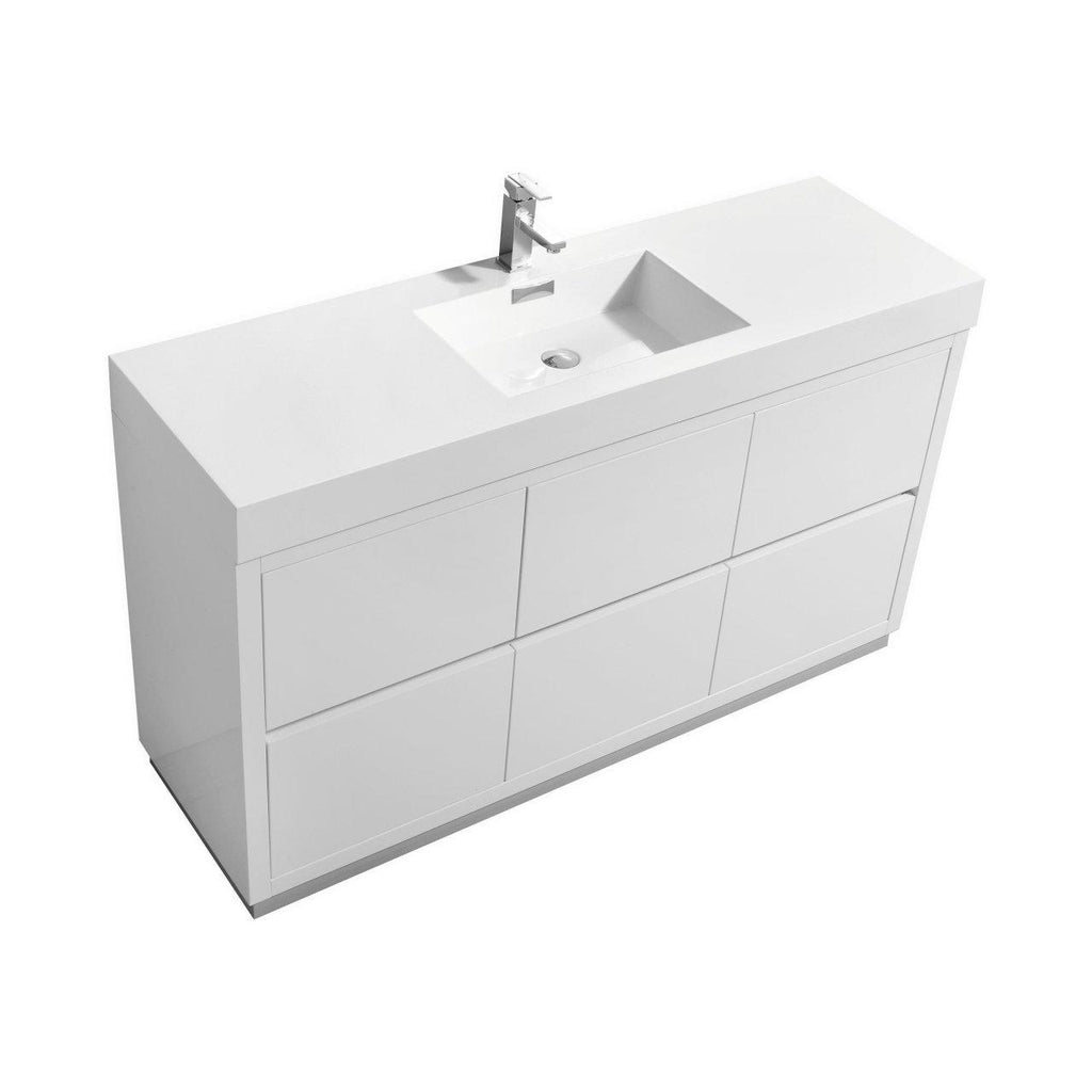 "KubeBath Bliss 60"" Single Sink High Gloss White Free Standing Bathroom Vanity - The Modern Vanity"