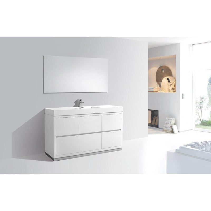 "KubeBath Bliss 60"" Single Sink High Gloss White Free Standing Bathroom Vanity"