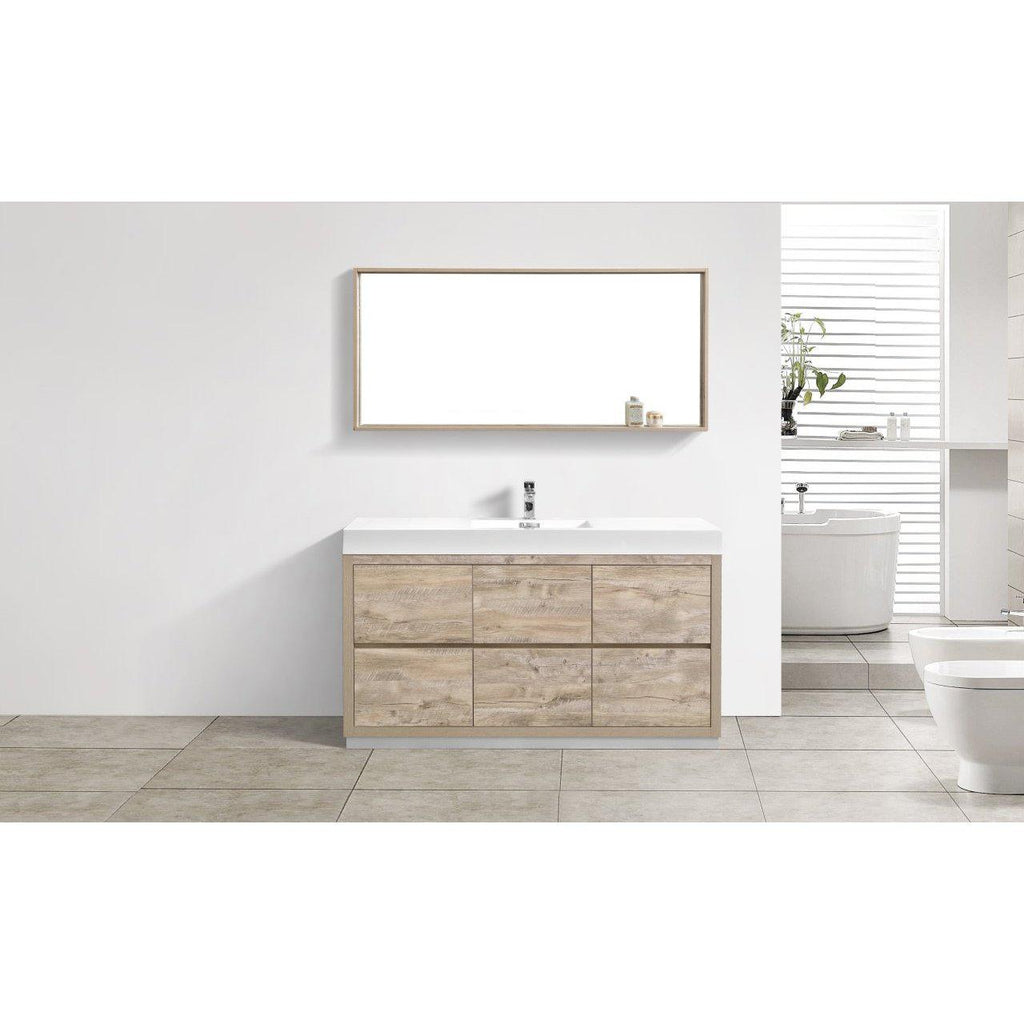 "KubeBath Bliss 60"" Single Sink Nature Wood Free Standing Bathroom Vanity"