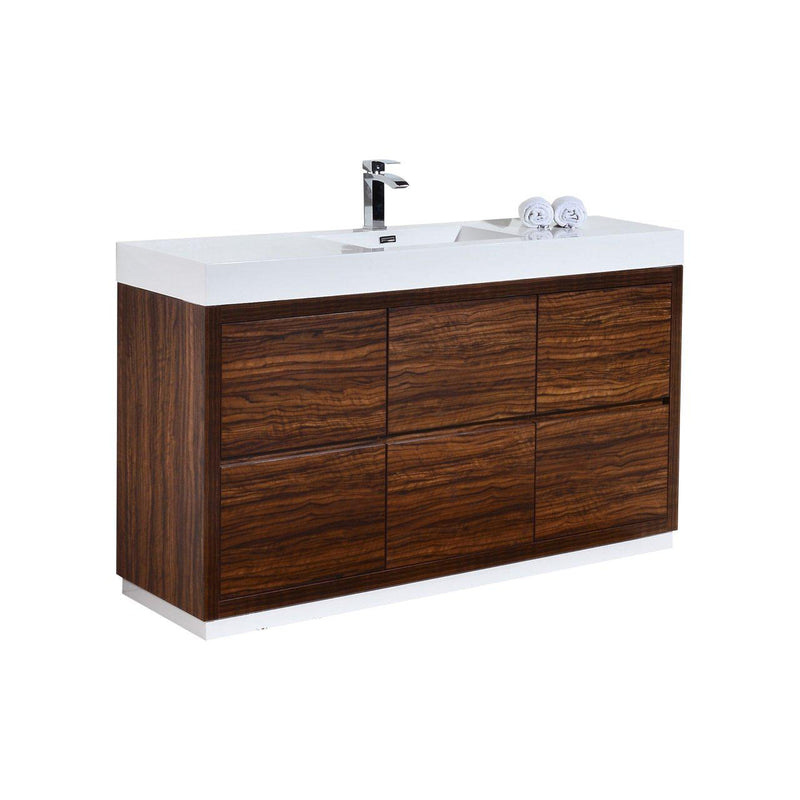 "KubeBath Bliss 60"" Single Sink Walnut Free Standing Bathroom Vanity - The Modern Vanity"