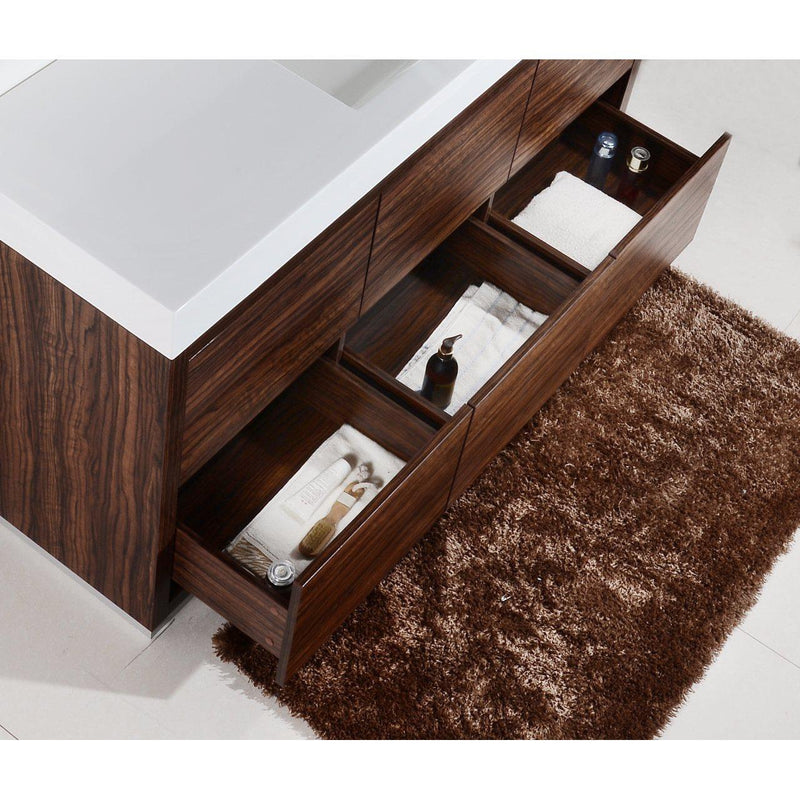 "KubeBath Bliss 60"" Single Sink Walnut Free Standing Bathroom Vanity"
