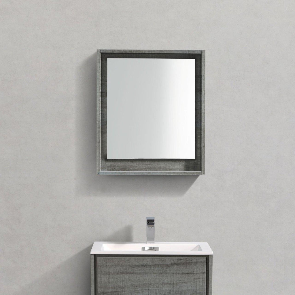 "Bosco 24"" Framed Mirror With Shelf- Ocean Gray Finish"