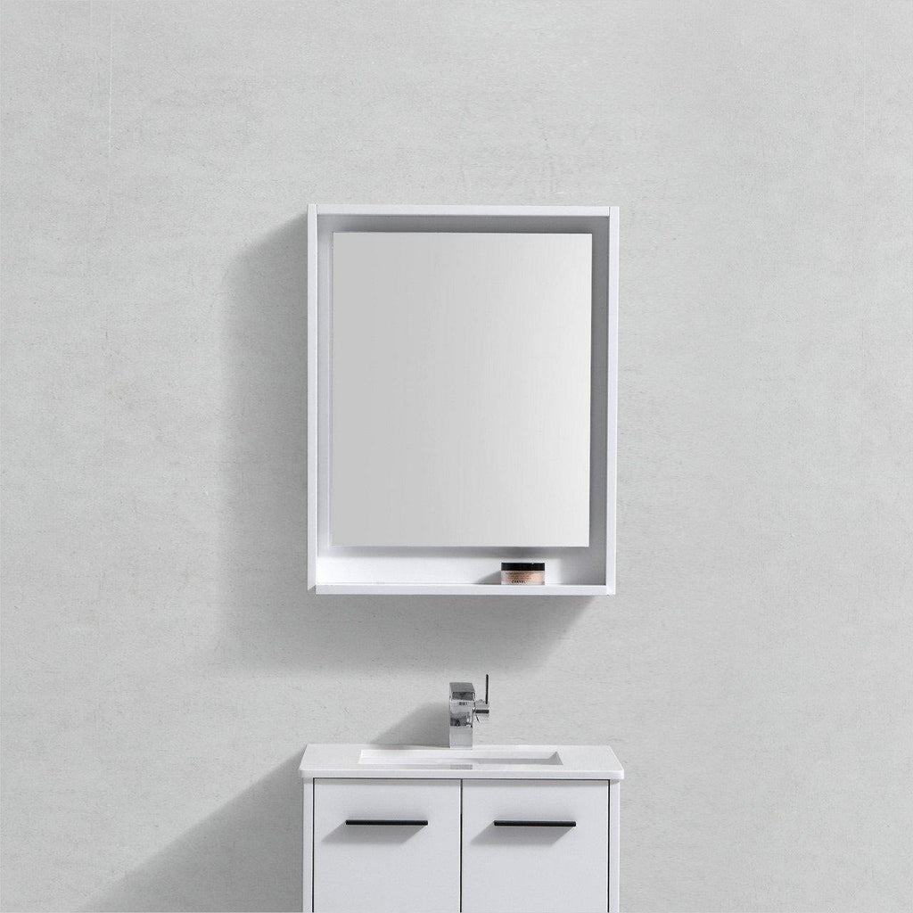 "Bosco 24"" Framed Mirror With Shelf- Gloss White Finish"