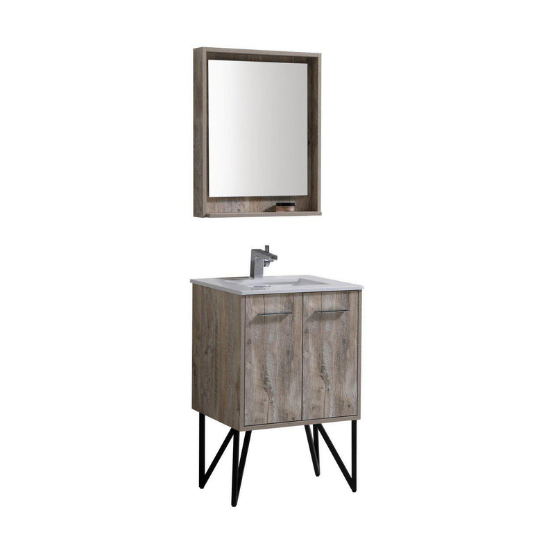 "KubeBath Bosco 24"" Oak Vanity w/ Quartz Countertop - The Modern Vanity"