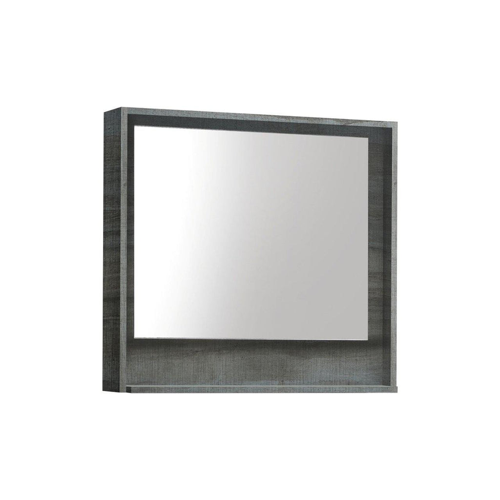"Bosco 30"" Framed Mirror With Shelf- Ocean Gray Finish"