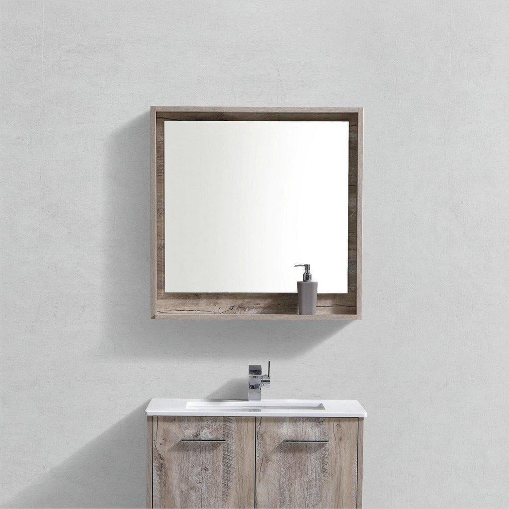 "Bosco 30"" Framed Mirror With Shelf- Nature Wood Finish"