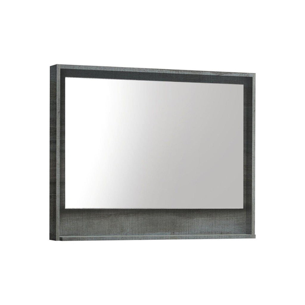 "Bosco 36"" Framed Mirror With Shelf- Ocean Gray Finish"