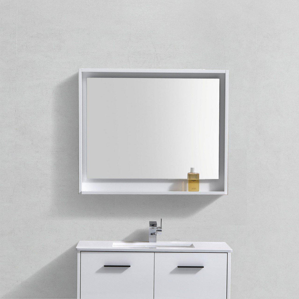 "Bosco 36"" Framed Mirror With Shelf- Gloss White Finish"