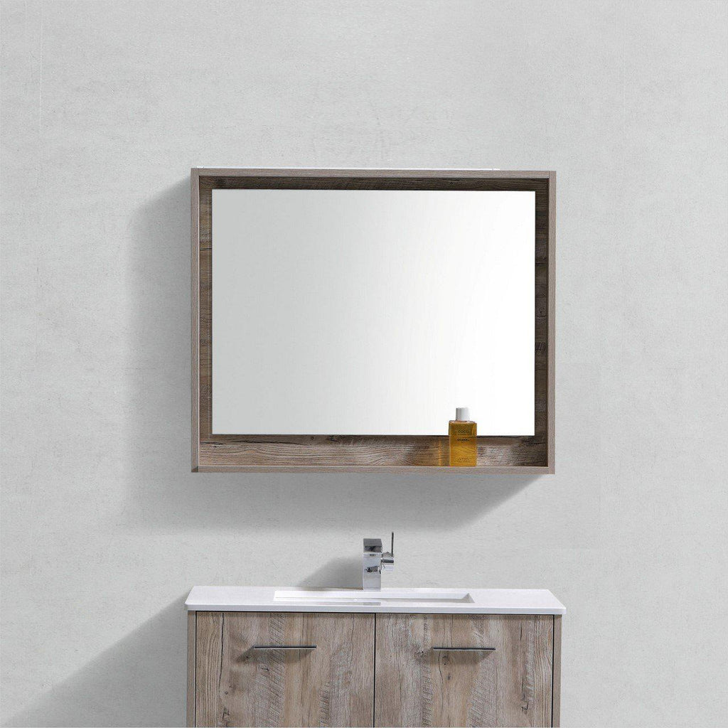 "Bosco 36"" Framed Mirror With Shelf- Nature Wood Finish"