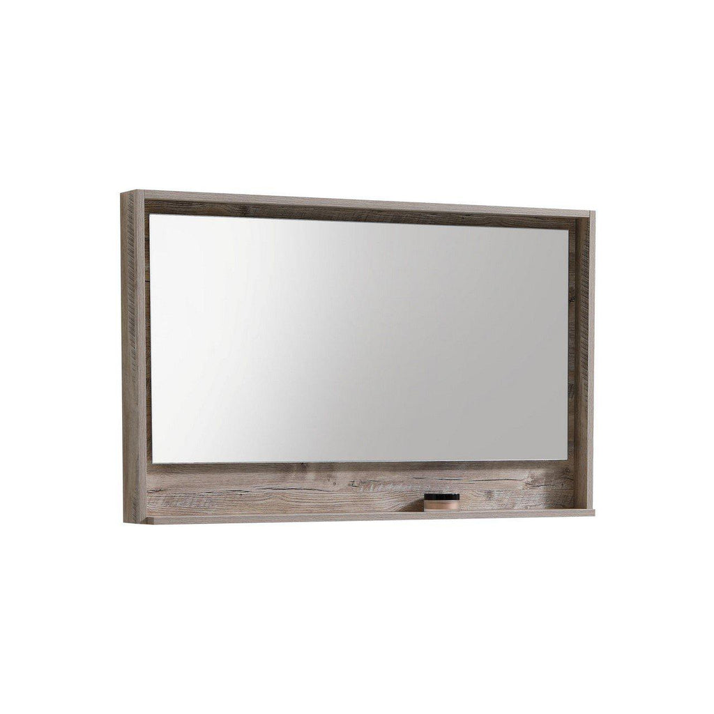 "Bosco 48"" Framed Mirror With Shelf- Nature Wood Finish"