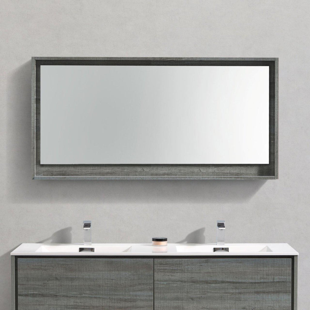 "Bosco 60"" Framed Mirror With Shelf- Ocean Gray Finish"