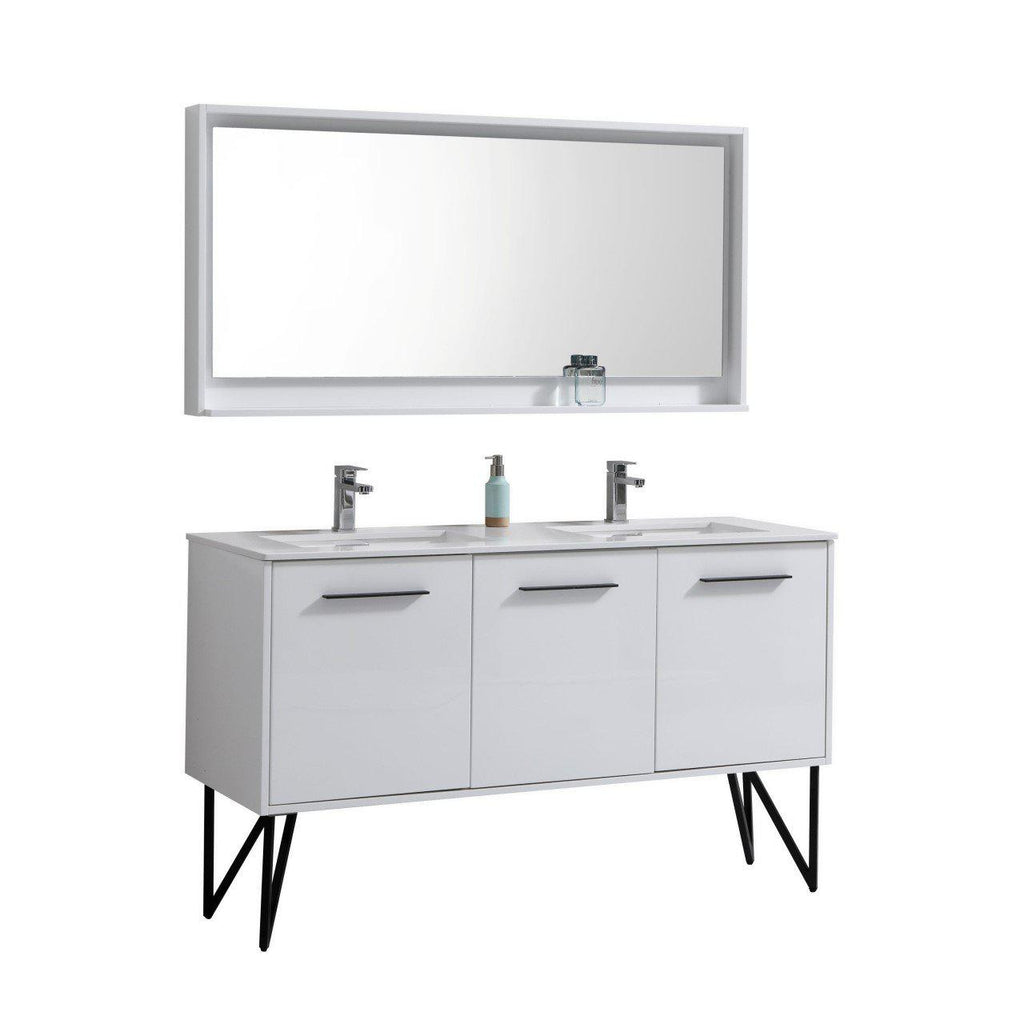 "KubeBath Bosco 60"" Modern Double Sink Bathroom Vanity w/ Quartz Countertop - The Modern Vanity"