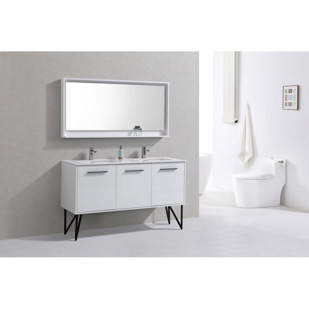 "KubeBath Bosco 60"" Modern Double Sink Bathroom Vanity w/ Quartz Countertop"