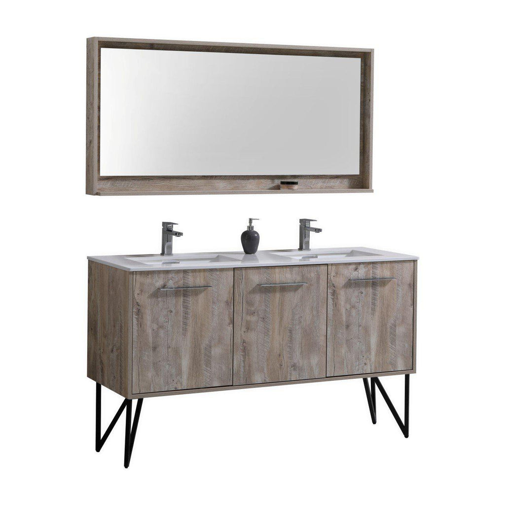 "KubeBath Bosco 60""Oak Double Sink Bathroom Vanity w/ Quartz Countertop - The Modern Vanity"