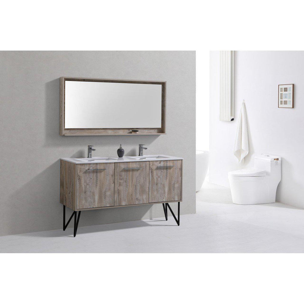 "KubeBath Bosco 60""Oak Double Sink Bathroom Vanity w/ Quartz Countertop"