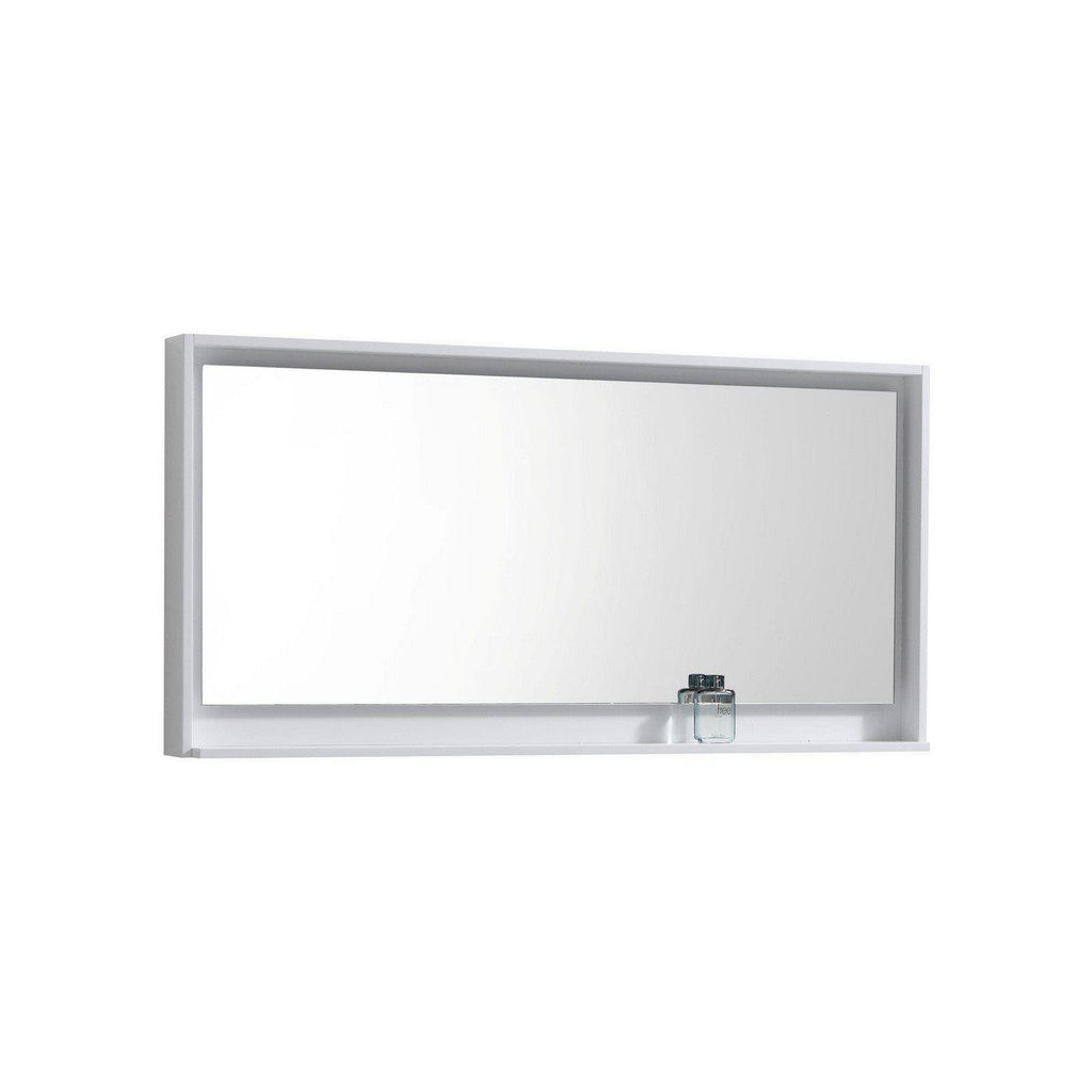 "Bosco 60"" Framed Mirror With Shelf- Gloss White Finish"
