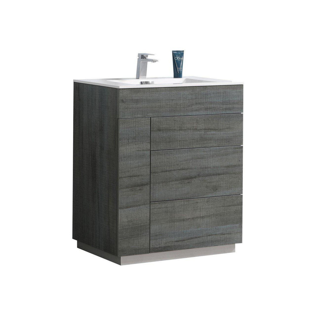 "KubeBath Milano 30"" Ocean Gray Floating Vanity - The Modern Vanity"