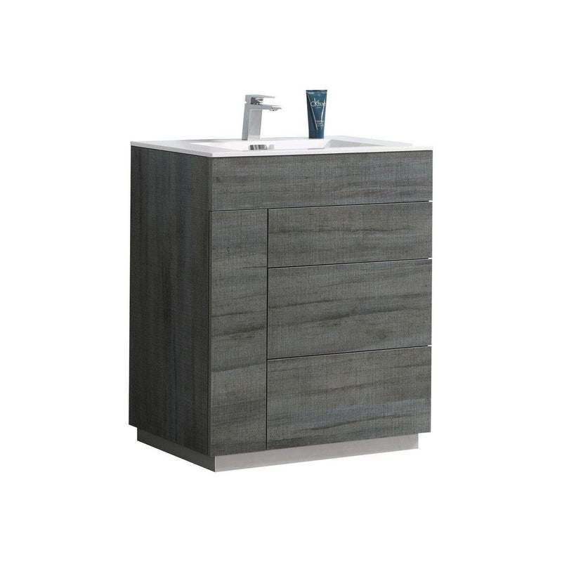 "KubeBath Bosco 24"" Oak Vanity w/ Quartz Countertop"