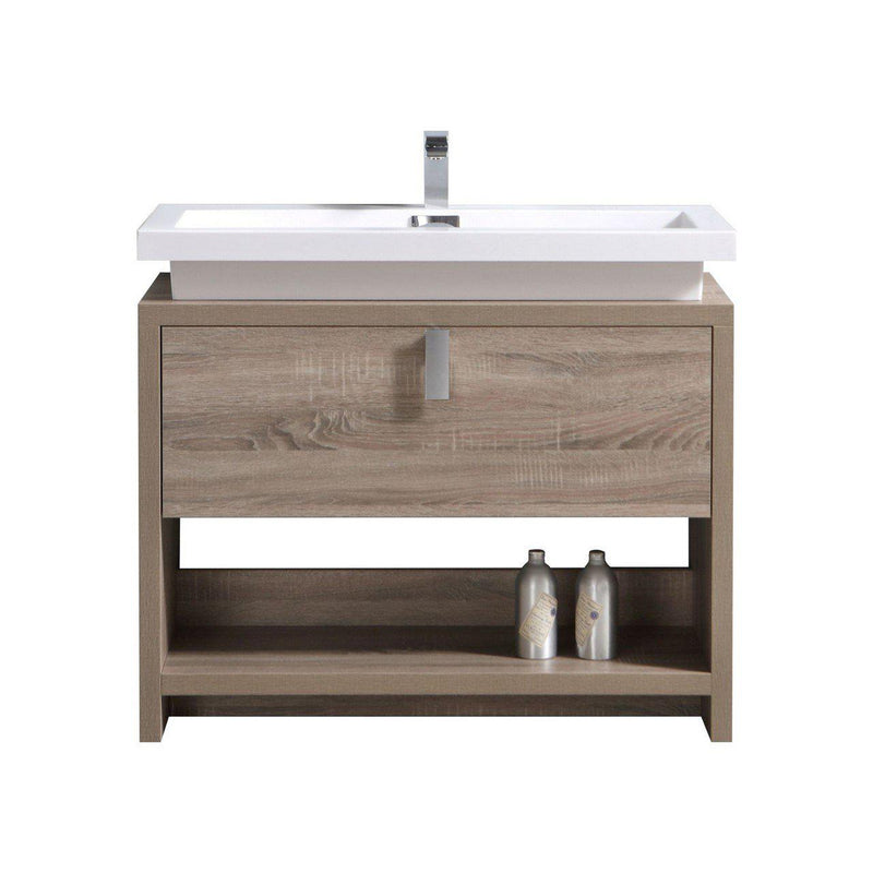 "KubeBath Levi 40"" Havana Oak Bathroom Vanity w/ Cubby Hole - The Modern Vanity"