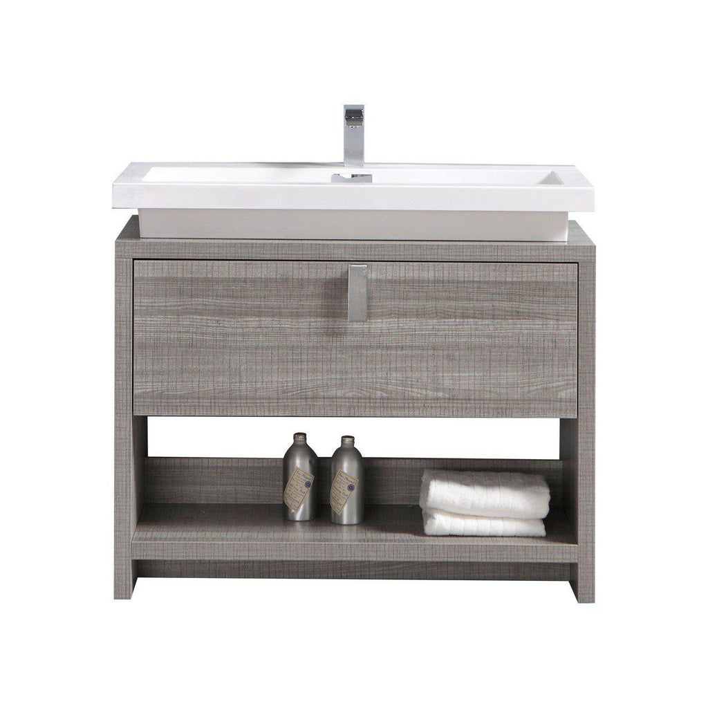 "KubeBath Levi 40"" Ash Gray Bathroom Vanity w/ Cubby Hole - The Modern Vanity"