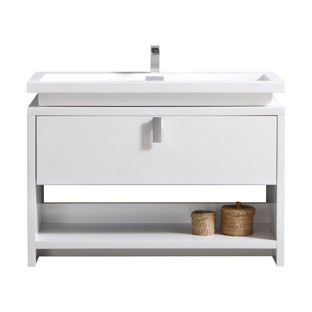 "KubeBath Levi 48"" High Gloss White Bathroom Vanity w/ Cubby Hole - The Modern Vanity"