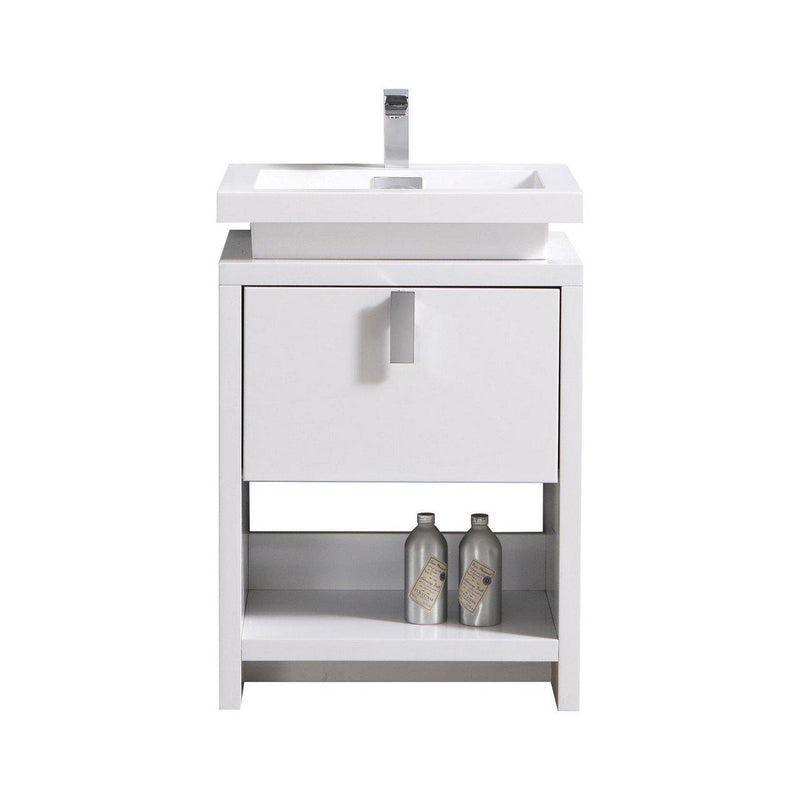 "KubeBath Levi 24"" High Gloss White Bathroom Vanity w/ Cubby Hole - The Modern Vanity"