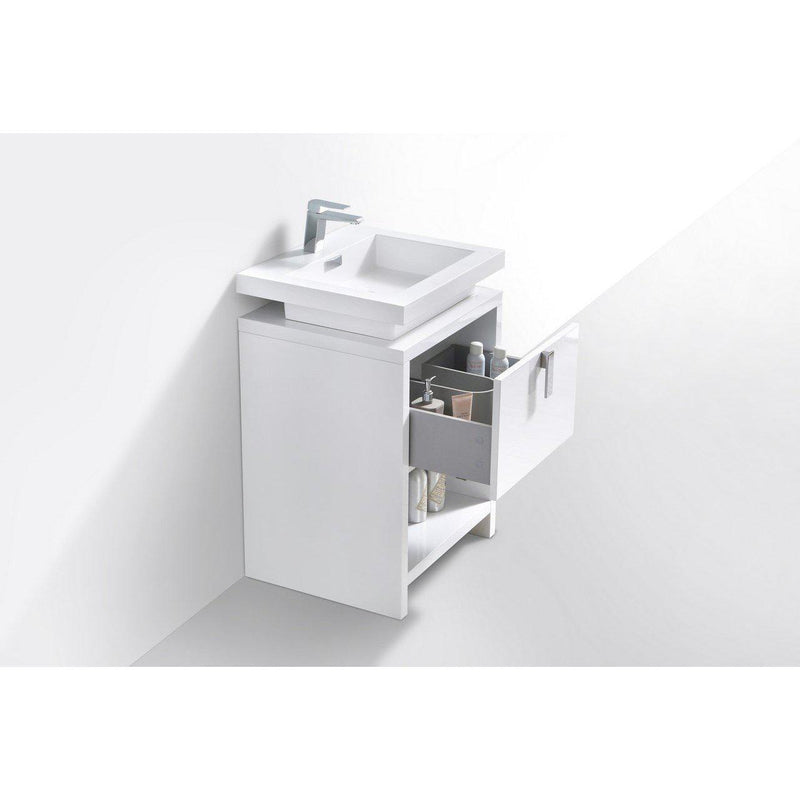"KubeBath Levi 24"" High Gloss White Bathroom Vanity w/ Cubby Hole"