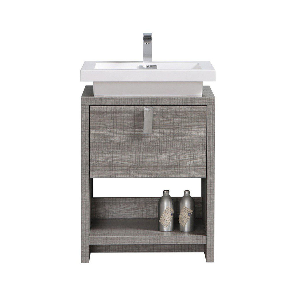 "KubeBath Levi 24"" Ash Gray Bathroom Vanity w/ Cubby Hole - The Modern Vanity"