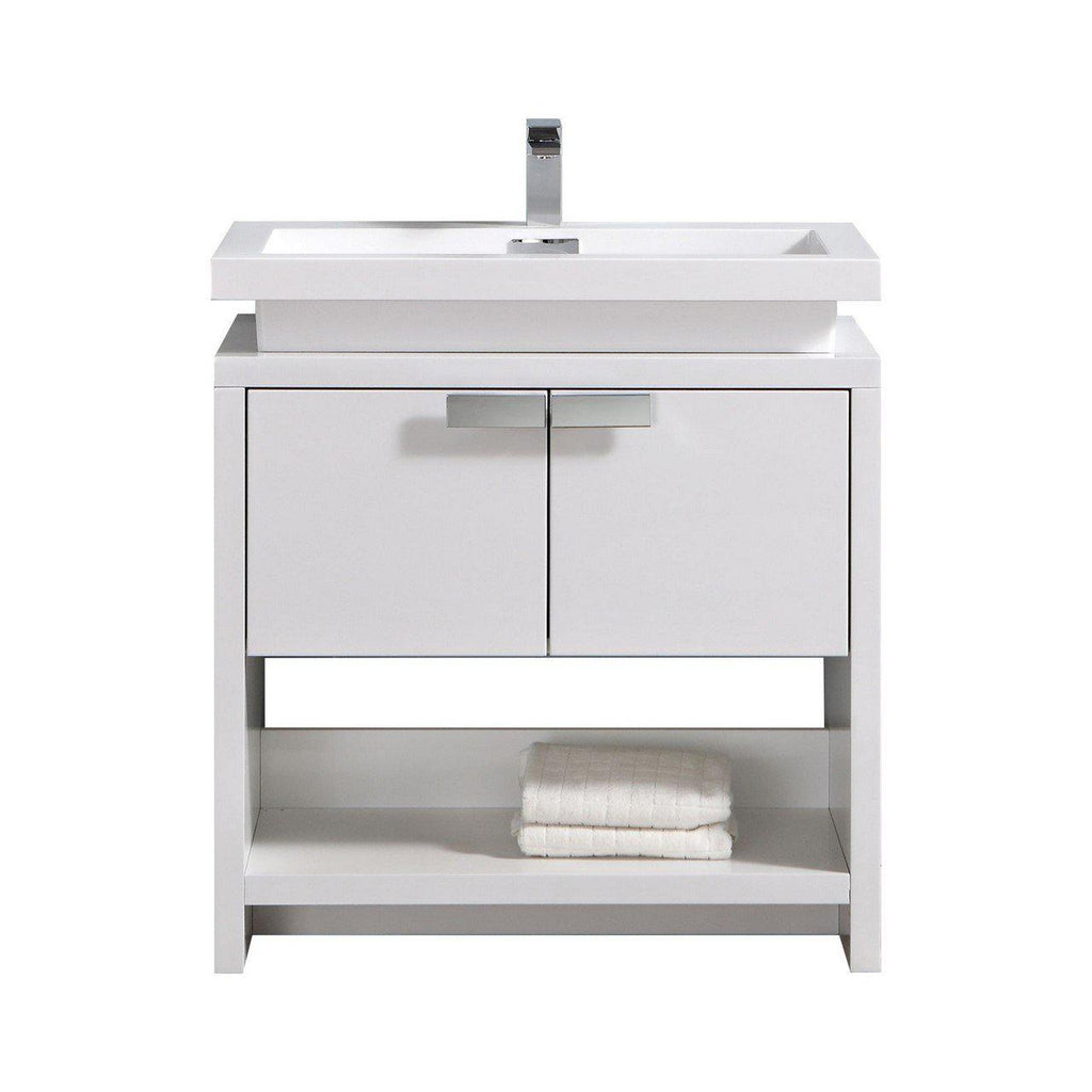 "KubeBath Levi 32"" High Gloss White Bathroom Vanity w/ Cubby Hole - The Modern Vanity"