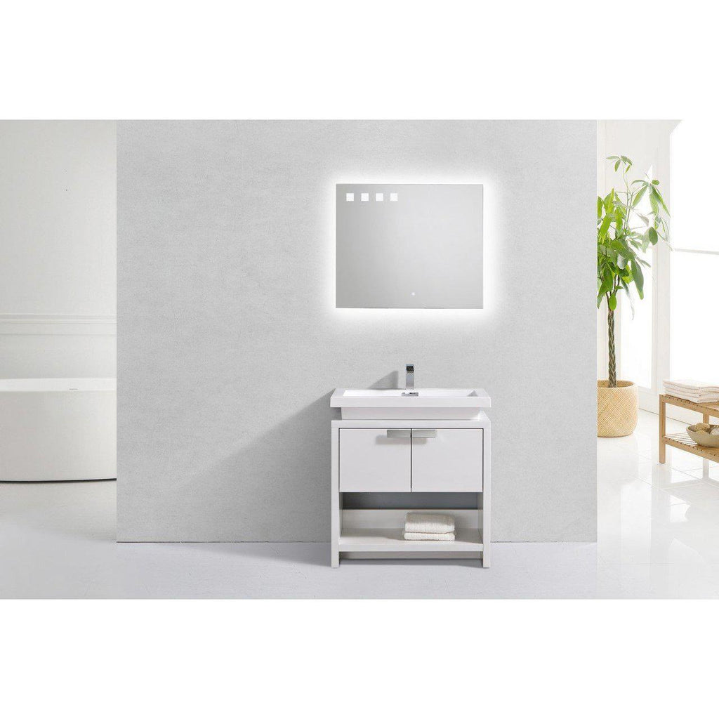 "KubeBath Levi 32"" High Gloss White Bathroom Vanity w/ Cubby Hole"