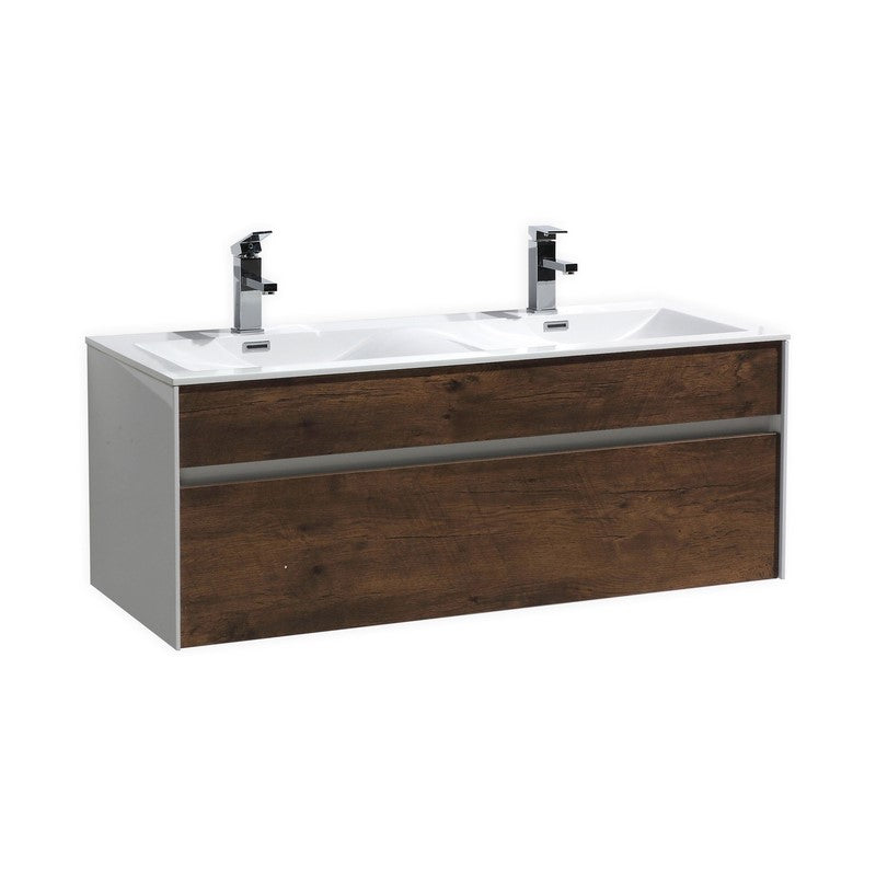 "KubeBath Fitto 48"" Rose Wood Floating Vanity - Double Sink - The Modern Vanity"