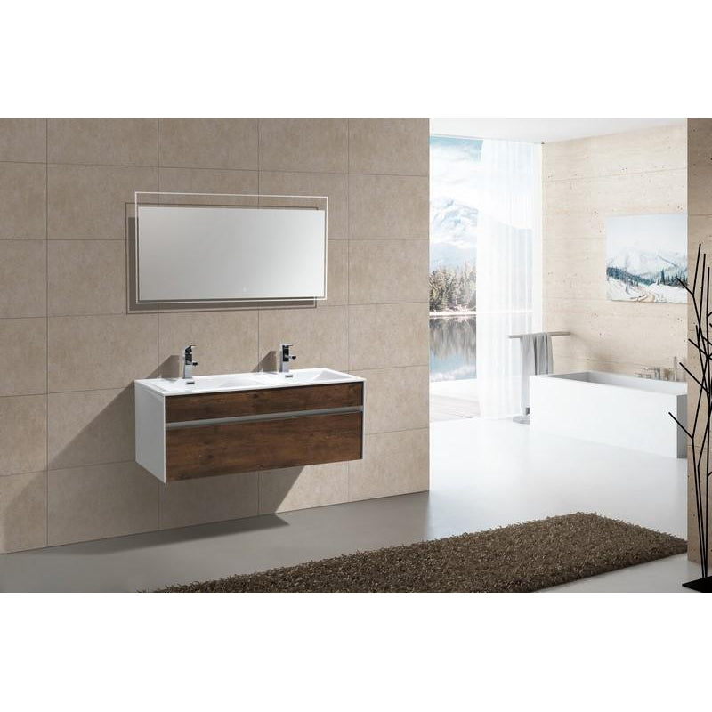 "KubeBath Fitto 48"" Rose Wood Floating Vanity - Double Sink"