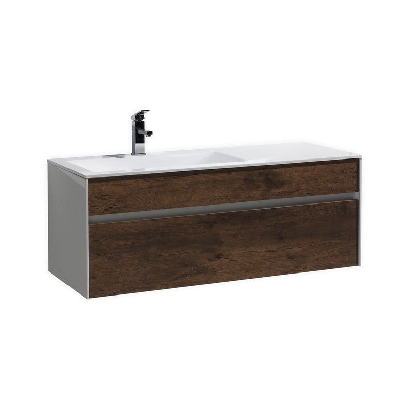 "KubeBath Fitto 48"" Rose Wood Floating Vanity - Single Sink"