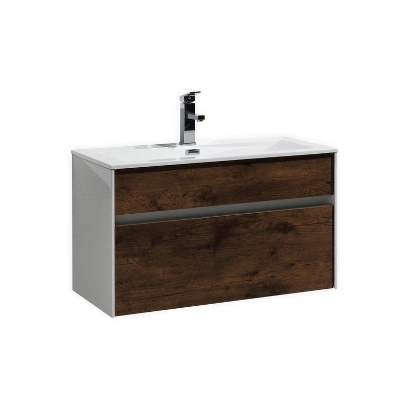 "KubeBath Fitto 32"" Rose Wood Floating Vanity - The Modern Vanity"