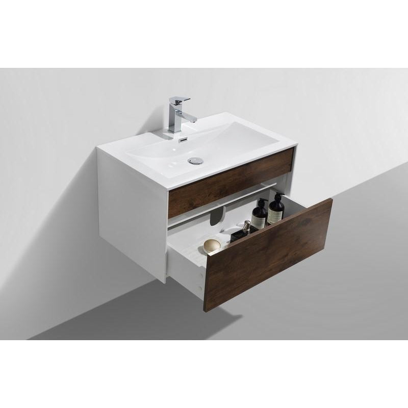 "KubeBath Fitto 32"" Rose Wood Floating Vanity"