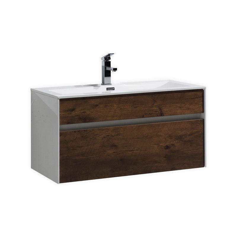 "KubeBath Fitto 36"" Rose Wood Floating Vanity - The Modern Vanity"