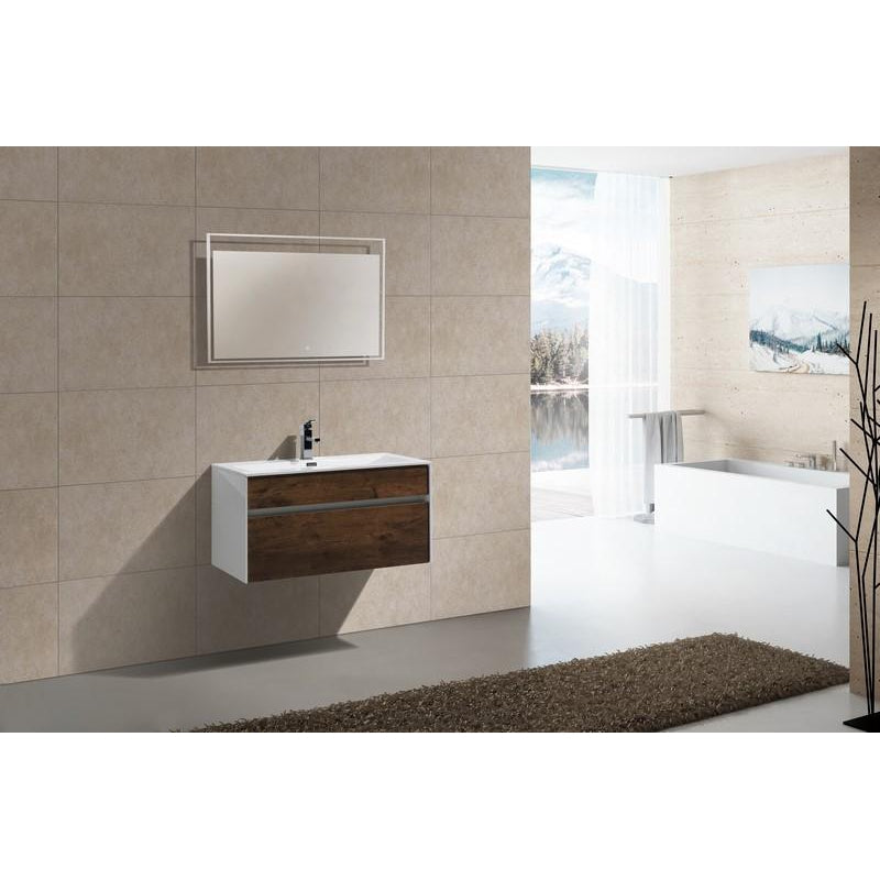 "KubeBath Fitto 36"" Rose Wood Floating Vanity"