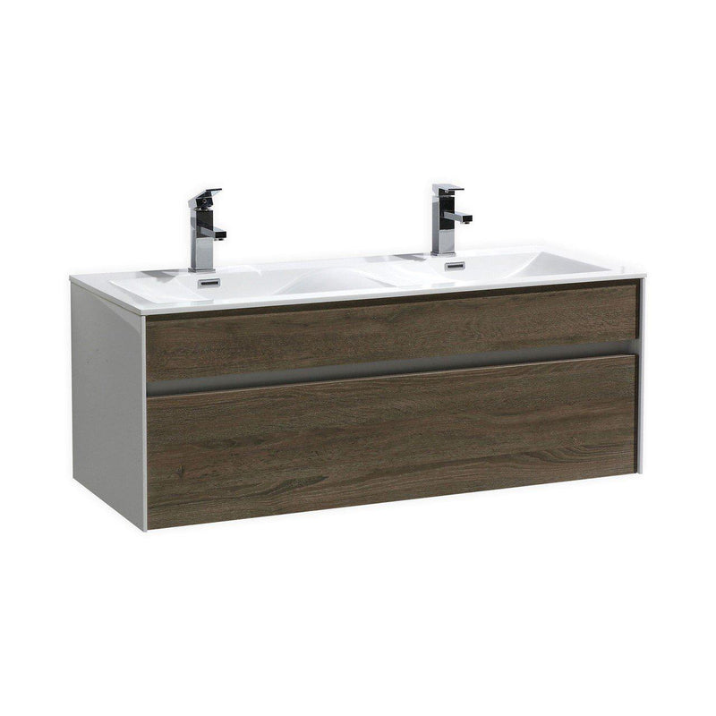 "KubeBath Fitto 48"" Havana Oak Floating Vanity - Double Sink  - The Modern Vanity"