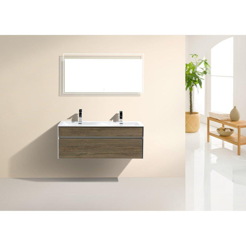 "KubeBath Fitto 48"" Havana Oak Floating Vanity - Double Sink"