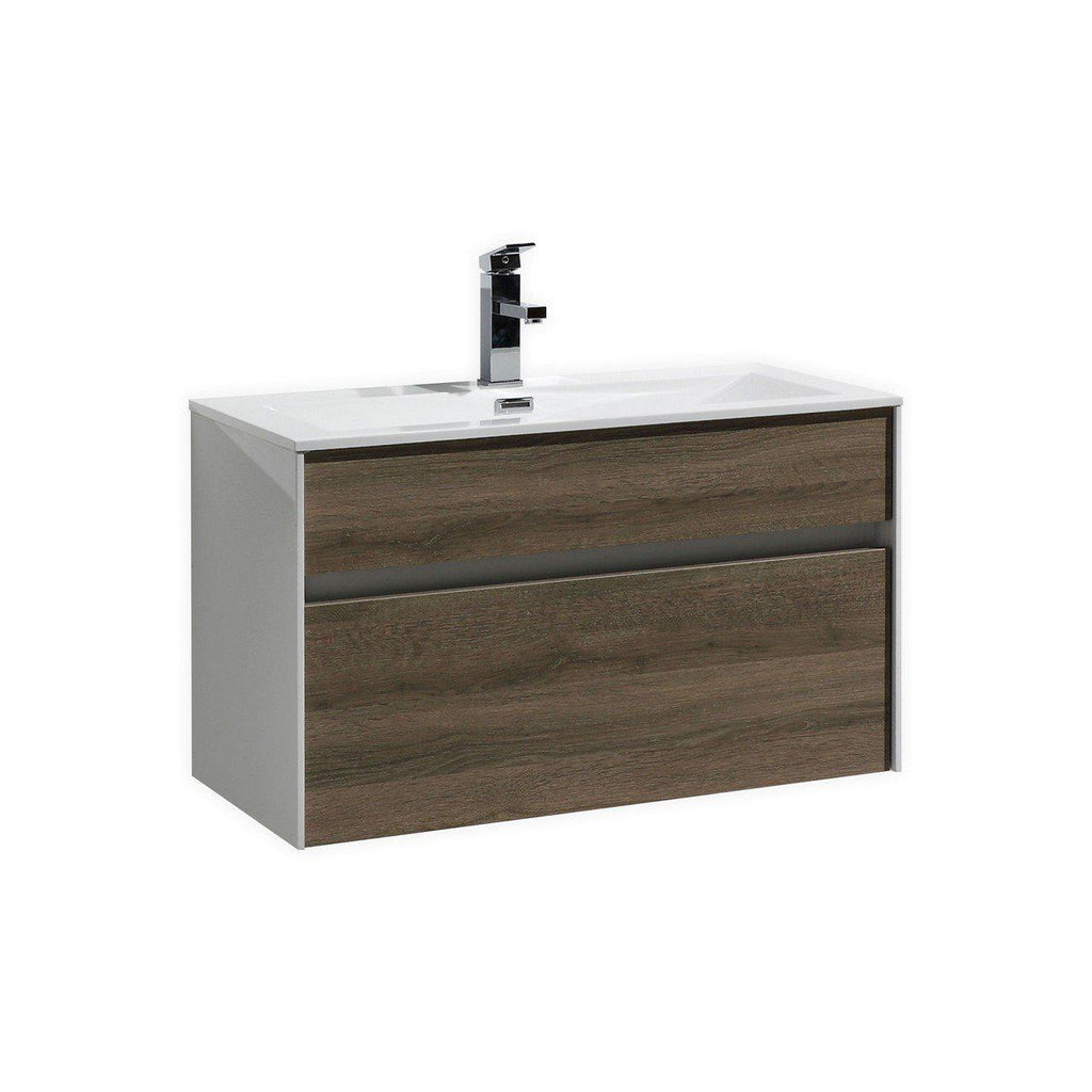 "KubeBath Fitto 32"" Havana Oak Floating Vanity - The Modern Vanity"