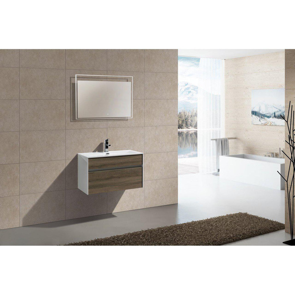 "KubeBath Fitto 32"" Havana Oak Floating Vanity"
