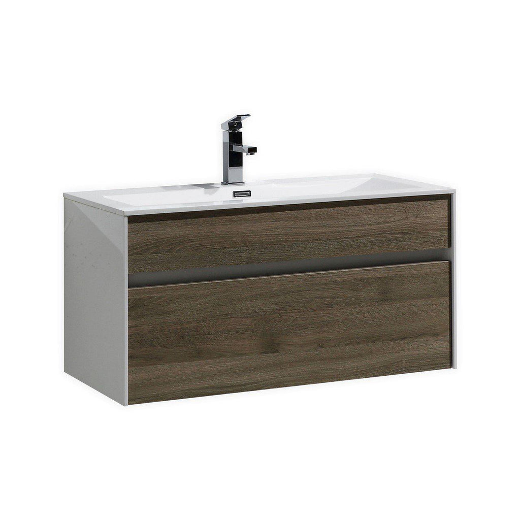 "KubeBath Fitto 36"" Havana Oak Floating Vanity - The Modern Vanity"