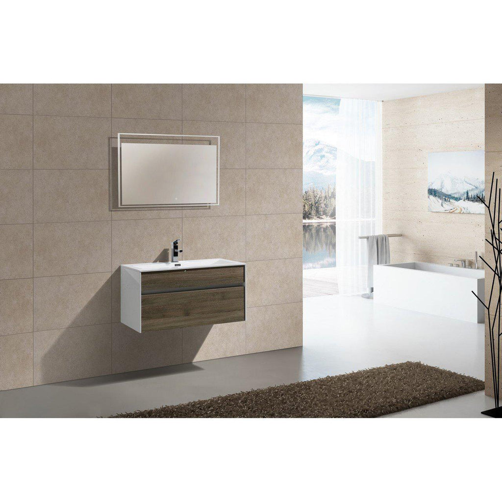 "KubeBath Fitto 36"" Havana Oak Floating Vanity"