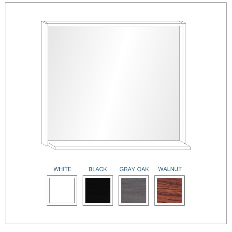 "Bliss 38"" Framed Mirror With Shelf- High Gloss Gray Oak Finish"