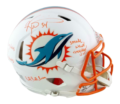 Ricky Williams Miami Dolphins Signed Dolphins Full-sized Flat White ProLine Helmet with 3 Insc (JSA COA)