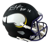 Randy Moss Minnesota Vikings Signed Minn Vikings Full-sized Flat Black Helmet with HOF (JSA COA)