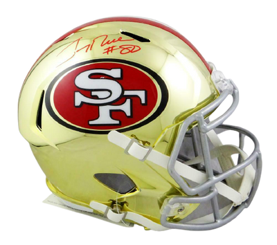 Jerry Rice San Francisco 49ers Signed San Francisco 49ers Full-sized Chrome Helmet *Red (BAS COA)