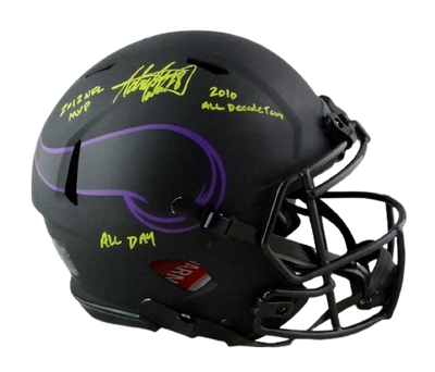 Adrian Peterson Minnesota Vikings Signed Vikings Full-sized Eclipse ProLine Helmet with 3Insc (BAS COA)