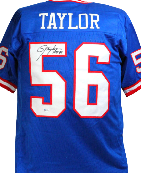 Lawrence Taylor New York Giants Signed Blue Pro Style Jersey with HOF *T5 (BAS COA)