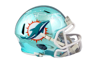 Ricky Williams Miami Dolphins Signed Miami Dolphins Chrome Mini Helmet with SWED (JSA COA)